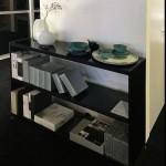 Halmeubel /dressoir / barmeubel – Rimadesio – alu met glas L1220 x D380 x H880 :  € 1.327 – NU € 929 afhaal